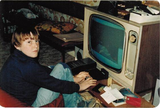 The author, age 11, playing the game Scramble on his Sinclair ZX81